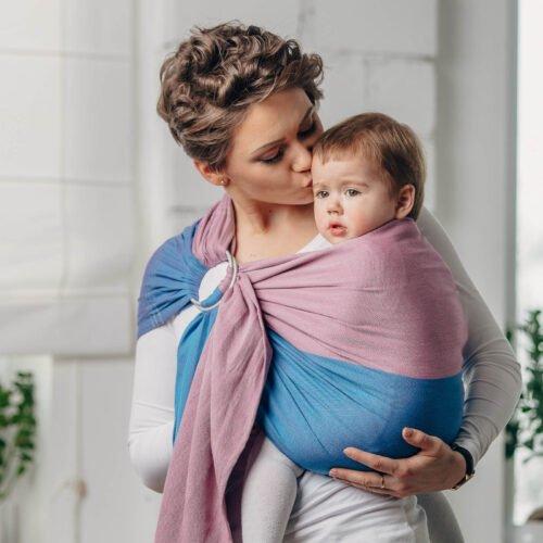LennyLamb Moja pierwsza chusta kółkowa do noszenia dzieci Fluoryt
