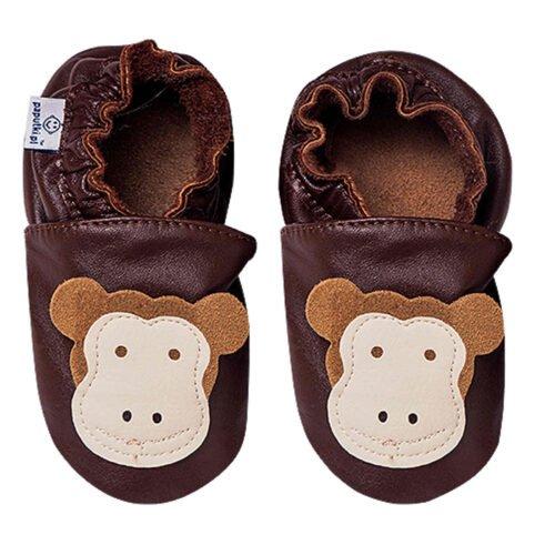 Paputki obuwie ze skóry jagnięcej SOFT-SOLE Brąz Małpa