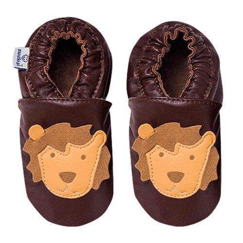 Paputki obuwie ze skóry jagnięcej SOFT-SOLE Brąz LEW