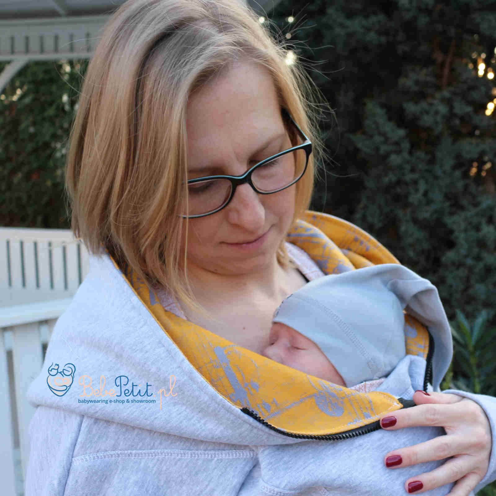 2ca2699e LennyLamb asymetryczna bluza do noszenia dzieci SZARY MELANŻ z SYMFONIĄ SUN  GIFT r. M