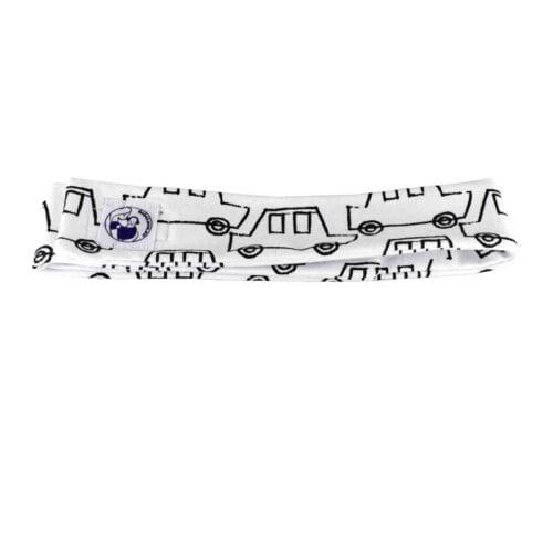 BebeLove nauszniki wygłuszające Białe z opaską AUTKA czarne na białym