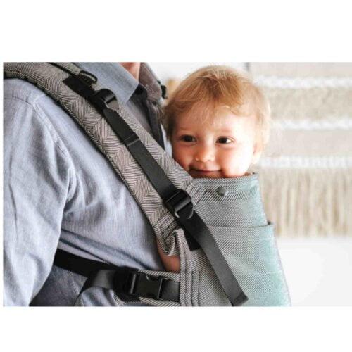 Kavka bawełniane nosidełko ergonomiczne regulowane Multi-Age BLACK HERRINGBONE