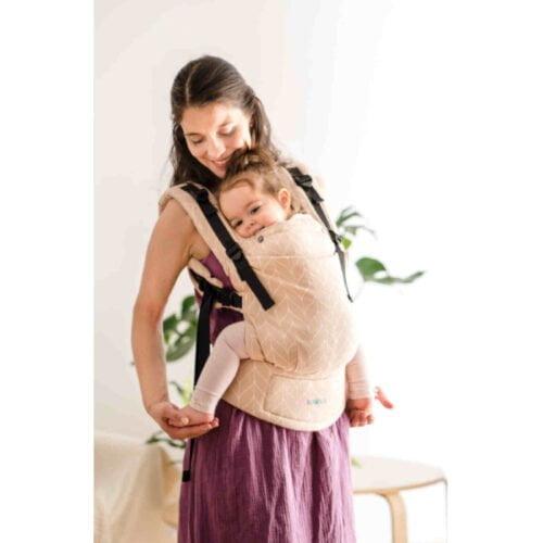 Kavka bawełniane nosidełko ergonomiczne regulowane Multi-Age CREAM Braid
